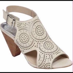NWOB...Vince Camuto cream laser cut design sandals